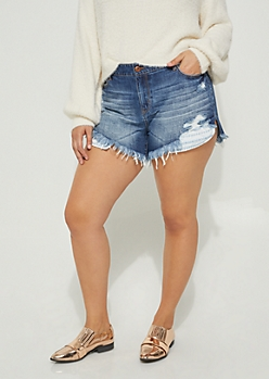 Plus High Low Crocheted Pocket Frayed Shortie