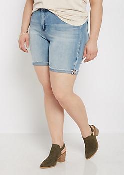 Plus Vintage High Waist Bermuda Jean Short