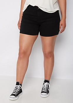Plus Black Mid Rise Midi Short