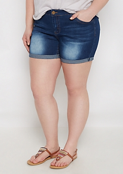 Plus Sandblasted Jean Midi Short