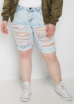 Plus Heavy Ripped Bermuda Short