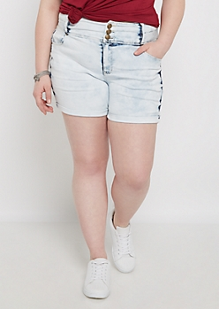 Plus Washed High Waist Jean Short in Curvy