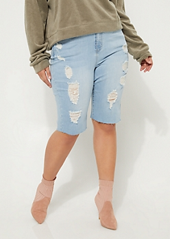 Plus Vintage High Rise Destructed Bermuda Shorts