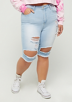 Plus Light Distressed High Rise Jean Bermuda Short