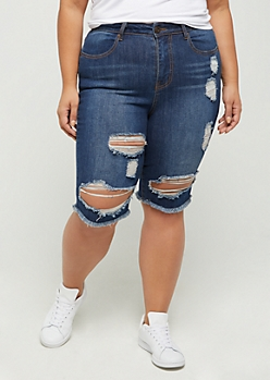 Plus Dark Distressed High Rise Jean Bermuda Short
