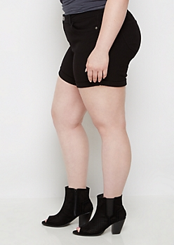 Plus Black Better Booty Midi Short