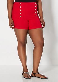 Plus Red High Waist Nautical Short