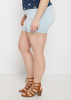 Plus Light Distressed Better Butt Jean Midi Short