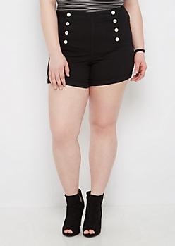 Plus Black High Waist Sailor Midi Short