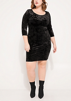 Plus Black Crushed Velvet Bodycon Dress