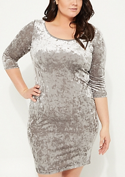 Plus Gray Velvet Bodycon Dress