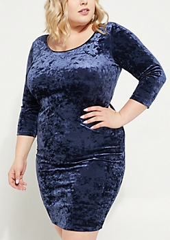 Plus Blue Crushed Velvet Bodycon Dress