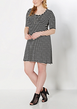 Plus Black & White Striped Swing Dress