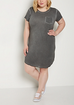 Plus Gray Vintage Washed T Shirt Dress