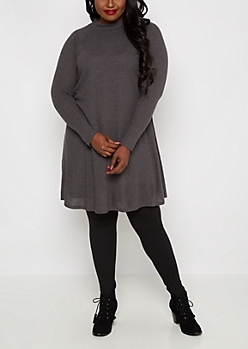Plus Charcoal Mock Neck Thermal Tent Dress