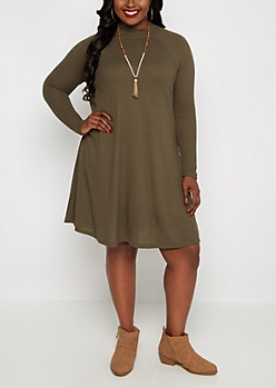 Plus Olive Mock Neck Thermal Tent Dress