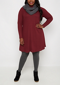 Plus Burgundy Mock Neck Thermal Tent Dress