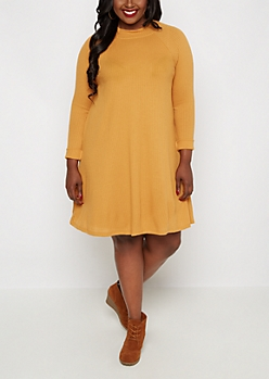 Plus Mustard Mock Neck Thermal Tent Dress
