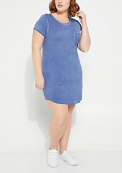 Plus Blue Washed T Shirt Dress