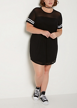 Plus Black Mesh Striped T Shirt Dress