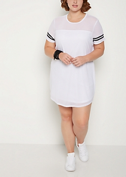 Plus White Mesh Striped T Shirt Dress