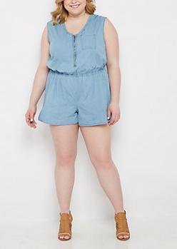 Plus Medium Blue Jean Romper