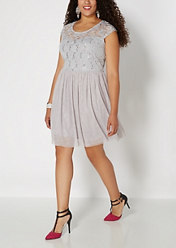 Plus Gray Sequins & Lace Bodice Party Dress