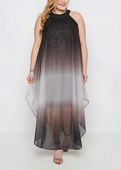 Plus Black Shimmer Ombre Dress