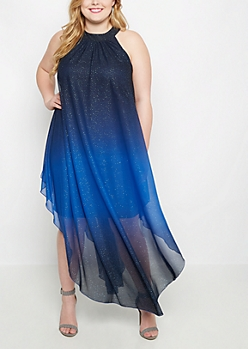 Plus Blue Shimmer Ombre Dress