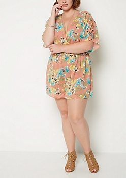 Plus Wildflower Lattice Surplice Romper