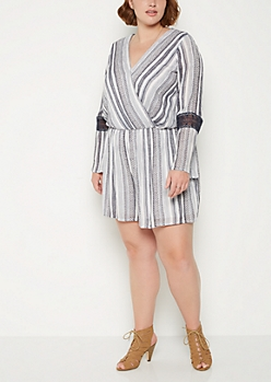 Plus Geo Crochet Sleeve Surplice Romper