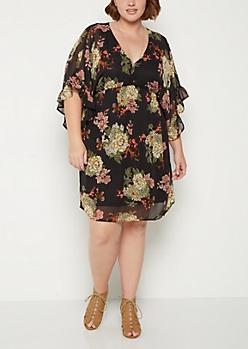 Plus Wildflower Deep V Neck Dress