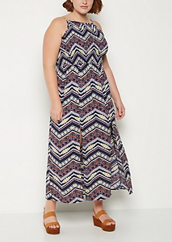 Plus Aztec Split Skirt Maxi Dress