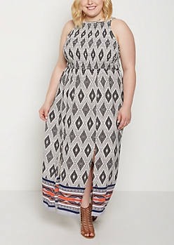 Plus Border Split Skirt Maxi Dress