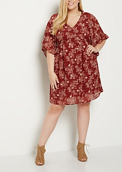 Plus Floral Ruffled Babydoll Dress