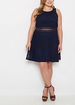 Plus Navy Boho Swirl Illusion Skater Dress