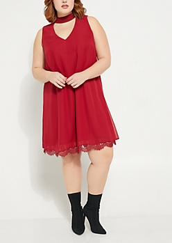 Plus Burgundy Choker Eyelet Lace Hem Dress