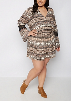 Plus Boho Crochet Sleeve Surplice Romper