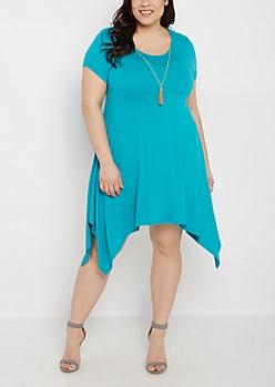 Plus Turquoise Sharkbite Dress & Tassel Necklace