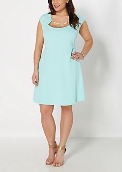 Plus Mint Pearl Necklace Skater Dress