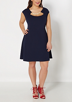 Plus Navy Pearl Necklace Skater Dress