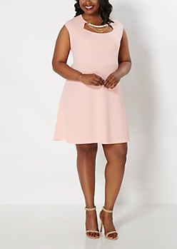 Plus Peach Pearl Necklace Skater Dress