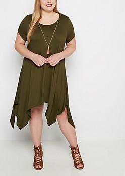Plus Olive Sharkbite Dress & Tassel Necklace