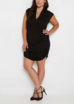 Plus Ruched Side V-Neck Bodycon Dress