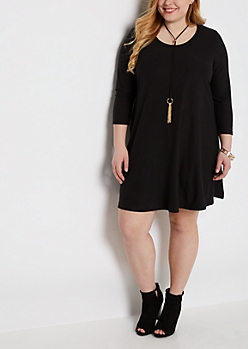Plus Black Swing Dress & Tassel Necklace
