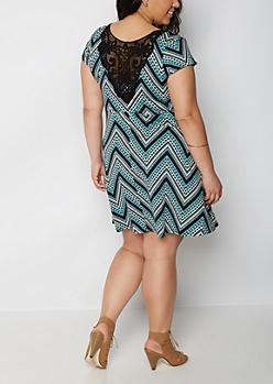 Plus Aztec Crochet Back Skater Dress