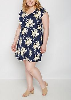 Plus Rose Crochet Back Super Soft Skater Dress