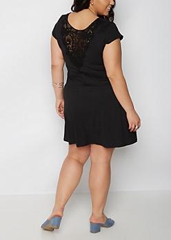 Plus Black Crochet Back Skater Dress
