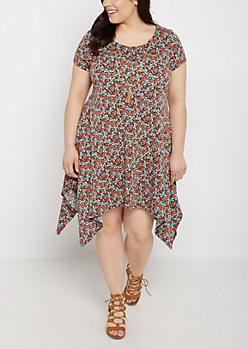 Plus Floral Sharkbite Dress & Tassel Necklace