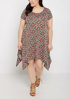 Plus Floral Sharkbite Dress & Tassel Necklace